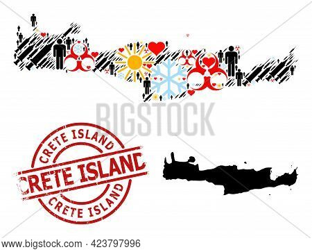 Grunge Crete Island Badge, And Lovely Patients Vaccine Mosaic Map Of Crete Island. Red Round Stamp I