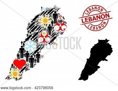 Grunge Lebanon Stamp Seal, And Spring Humans Syringe Mosaic Map Of Lebanon. Red Round Seal Has Leban