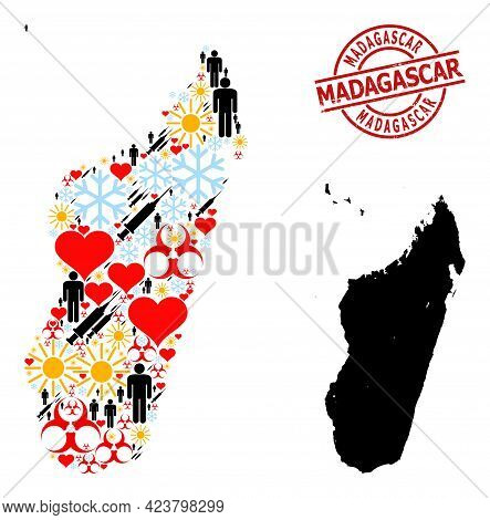 Distress Madagascar Stamp, And Winter Humans Inoculation Collage Map Of Madagascar Island. Red Round