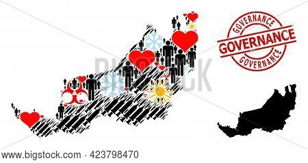 Textured Governance Stamp Seal, And Heart Population Covid-2019 Treatment Collage Map Of Sarawak. Re