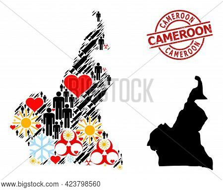 Distress Cameroon Badge, And Sunny Customers Syringe Mosaic Map Of Cameroon. Red Round Seal Contains