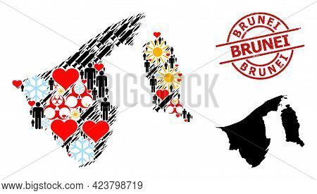 Scratched Brunei Stamp, And Spring Patients Inoculation Mosaic Map Of Brunei. Red Round Stamp Includ