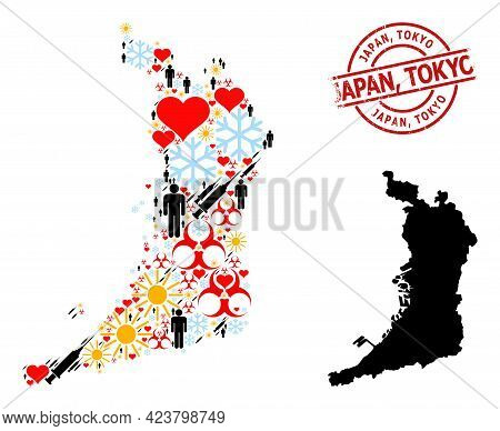 Rubber Japan, Tokyo Stamp, And Frost Man Covid-2019 Treatment Collage Map Of Osaka Prefecture. Red R