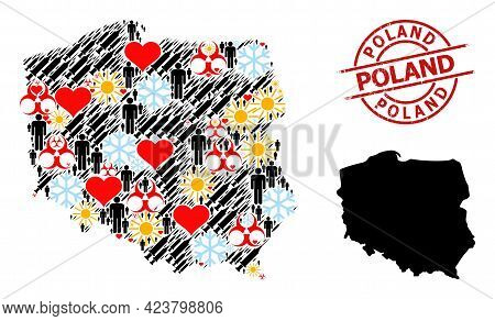 Distress Poland Badge, And Sunny Demographics Infection Treatment Collage Map Of Poland. Red Round S