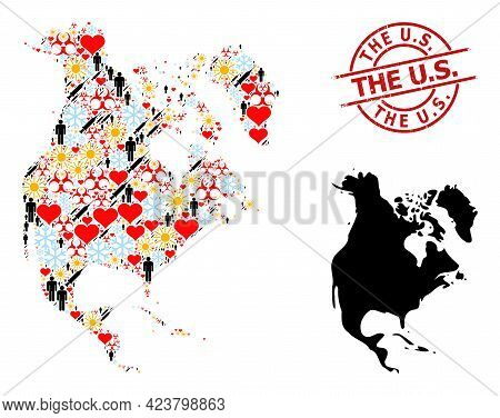 Rubber The U.s. Stamp, And Spring Customers Syringe Collage Map Of North America. Red Round Badge Ha