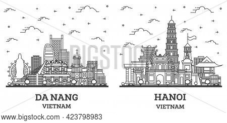 Outline Hanoi and Da Nang Vietnam City Skyline with Historic Buildings Isolated on White. Cityscape with Landmarks.