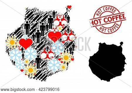 Scratched Hot Coffee Stamp, And Winter Patients Vaccine Collage Map Of Gran Canaria. Red Round Stamp