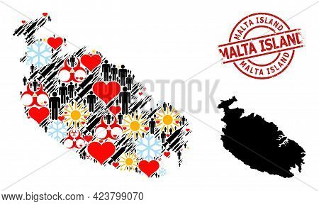 Textured Malta Island Stamp Seal, And Spring Patients Vaccine Mosaic Map Of Malta Island. Red Round