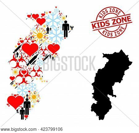 Rubber Kids Zone Seal, And Heart Patients Virus Therapy Mosaic Map Of Chhattisgarh State. Red Round