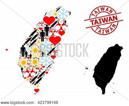 Scratched Taiwan Stamp, And Spring Man Inoculation Collage Map Of Taiwan. Red Round Stamp Includes T