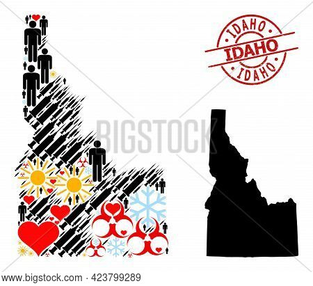 Rubber Idaho Stamp Seal, And Frost Customers Inoculation Mosaic Map Of Idaho State. Red Round Stamp