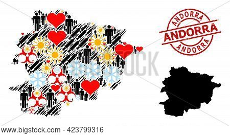 Rubber Andorra Stamp Seal, And Frost Demographics Inoculation Collage Map Of Andorra. Red Round Stam