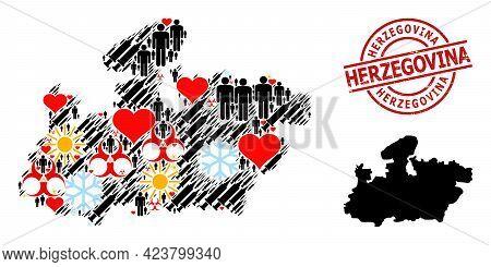 Grunge Herzegovina Stamp Seal, And Sunny Men Syringe Collage Map Of Madhya Pradesh State. Red Round