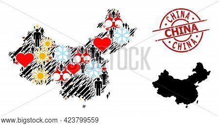 Rubber China Stamp Seal, And Spring People Inoculation Mosaic Map Of China. Red Round Stamp Seal Con