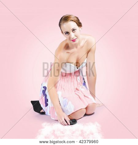 Cute Pin-up Housewife Cleaning Floor By Hand