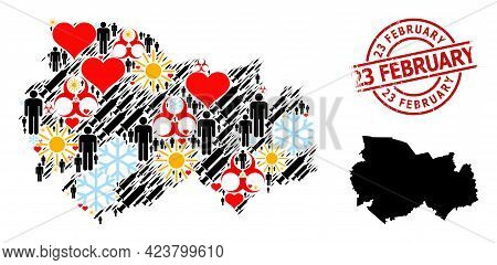 Distress 23 February Badge, And Spring Men Infection Treatment Mosaic Map Of Novosibirsk Region. Red