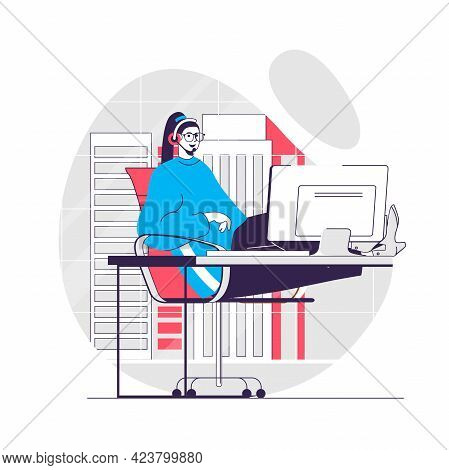Support Center Web Concept. Woman Helps And Consults Callers To The Hotline. Call Center People Scen