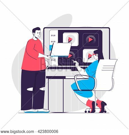 Video Tutorial Web Concept. Woman Studying Course On Internet Platform. Online Education People Scen