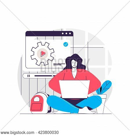 Video Tutorial Web Concept. Woman Studying On Laptop, Watching Video. Online Education People Scene.