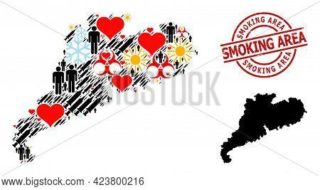Distress Smoking Area Stamp, And Winter Customers Syringe Mosaic Map Of Guangdong Province. Red Roun