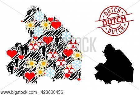 Scratched Dutch Stamp Seal, And Lovely Demographics Vaccine Collage Map Of Drenthe Province. Red Rou