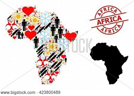 Distress Africa Stamp, And Heart Humans Vaccine Collage Map Of Africa. Red Round Stamp Seal Has Afri