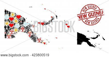 Grunge New Guinea Stamp, And Lovely Population Inoculation Mosaic Map Of Papua New Guinea. Red Round