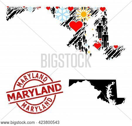 Grunge Maryland Stamp Seal, And Lovely Humans Vaccine Mosaic Map Of Maryland State. Red Round Seal C