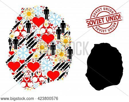 Textured Soviet Union Stamp, And Sunny People Virus Therapy Mosaic Map Of Nevis Island. Red Round St