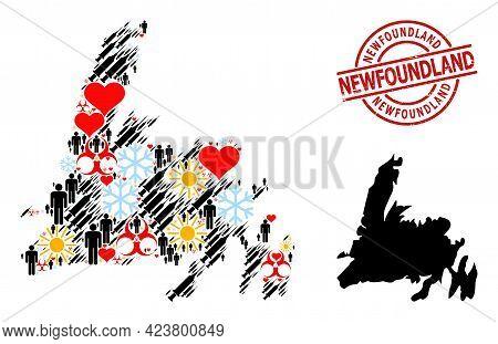 Grunge Newfoundland Stamp, And Lovely Customers Syringe Collage Map Of Newfoundland Island. Red Roun