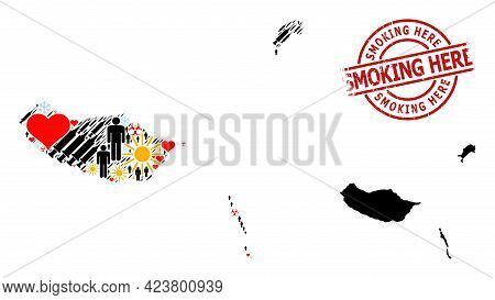 Rubber Smoking Here Stamp Seal, And Frost Customers Infection Treatment Mosaic Map Of Madeira Island