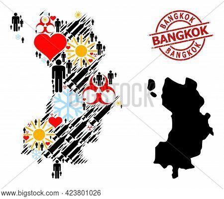 Distress Bangkok Badge, And Lovely Humans Covid-2019 Treatment Mosaic Map Of Ko Tao. Red Round Badge