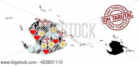 Rubber Koh Tarutao Badge, And Sunny Man Infection Treatment Collage Map Of Juventud Island. Red Roun