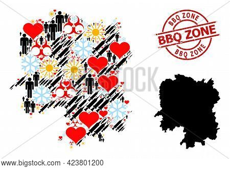 Grunge Bbq Zone Badge, And Lovely Population Syringe Collage Map Of Hunan Province. Red Round Badge