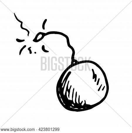 Doodle Bomb Sparkling Wick In Flat Style.vector Isolated Round Bomb With A Burning, Sparkling Wick.