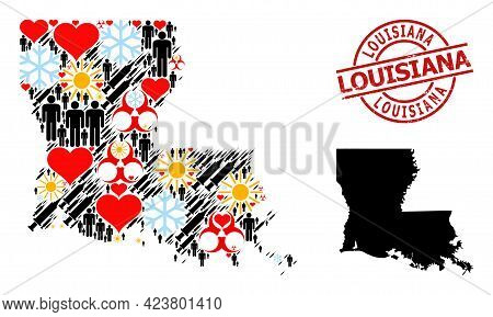 Scratched Louisiana Badge, And Heart Man Syringe Mosaic Map Of Louisiana State. Red Round Badge Cont