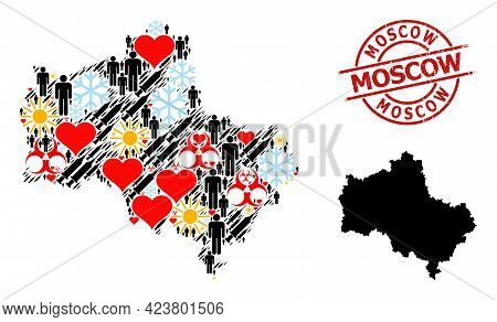 Distress Moscow Stamp, And Winter Population Vaccine Collage Map Of Moscow Region. Red Round Stamp H