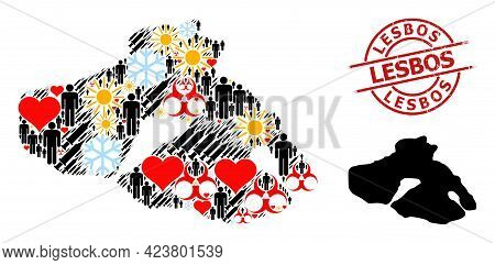 Grunge Lesbos Stamp Seal, And Frost Customers Inoculation Mosaic Map Of Lesbos Island. Red Round Sta