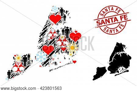 Textured Santa Fe Seal, And Winter Humans Vaccine Mosaic Map Of New York City. Red Round Stamp Seal