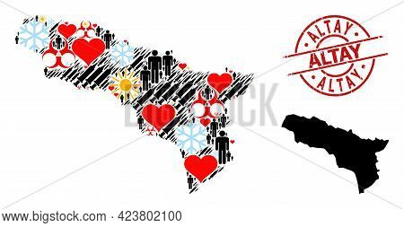 Textured Altay Stamp Seal, And Frost People Inoculation Mosaic Map Of Abkhazia. Red Round Seal Has A