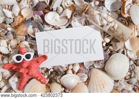 Top View Of Seashells And Starfish In Glasses With A Sheet Of Paper For Text. Creative Humorous Summ