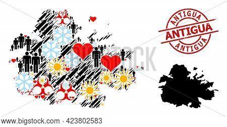 Grunge Antigua Stamp, And Winter Men Inoculation Collage Map Of Antigua Island. Red Round Stamp Has