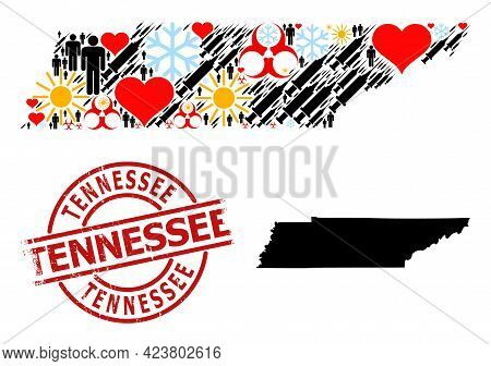 Textured Tennessee Seal, And Lovely Population Infection Treatment Mosaic Map Of Tennessee State. Re
