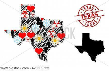 Scratched Texas Stamp Seal, And Winter Man Infection Treatment Mosaic Map Of Texas State. Red Round