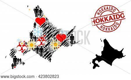 Textured Hokkaido Stamp Seal, And Lovely Demographics Syringe Mosaic Map Of Hokkaido Island. Red Rou