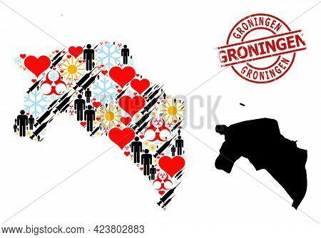 Textured Groningen Stamp, And Frost People Inoculation Mosaic Map Of Groningen Province. Red Round S