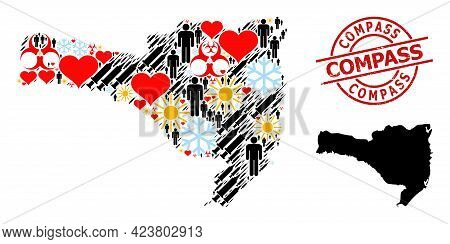 Distress Compass Stamp, And Heart Men Syringe Collage Map Of Santa Catarina State. Red Round Stamp H