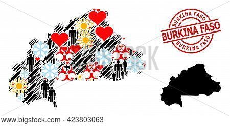 Rubber Burkina Faso Seal, And Frost Customers Vaccine Collage Map Of Burkina Faso. Red Round Stamp S