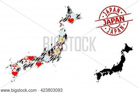 Textured Japan Badge, And Sunny Humans Inoculation Collage Map Of Japan. Red Round Badge Includes Ja