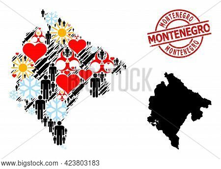 Distress Montenegro Seal, And Lovely Man Covid-2019 Treatment Mosaic Map Of Montenegro. Red Round St